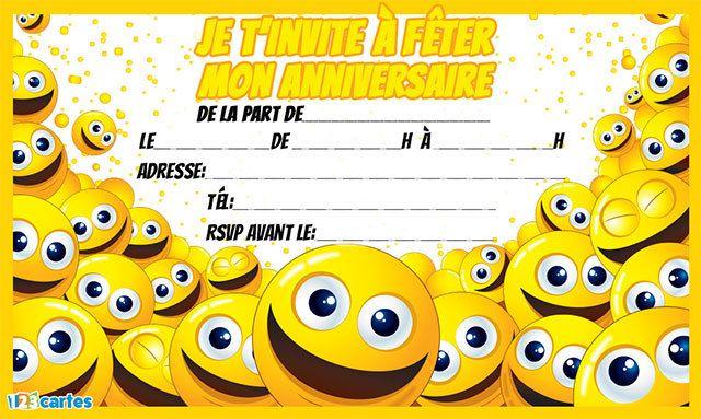 Invitation anniversaire smileys gratuite t l charger au format pdf avec plein de smileys - Image de smiley a imprimer ...