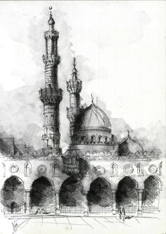 A Sketch Of A Building Landscape Possibly A Large Scale