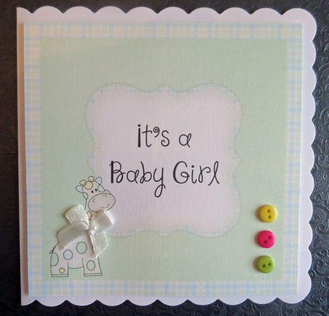lovely super cute pastel giraffe handmade baby girl card