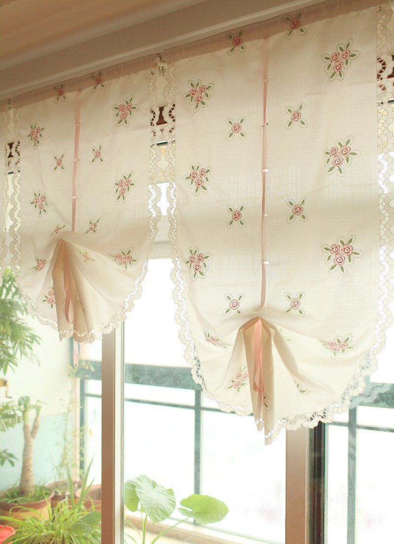 Pair Of Victorian Shabby Chic Embroidery Pink Rose Pull Up Curtains Pinch Pleat Rod Pocket Drapes Drapery By ShabbyChicLinenC On Etsy