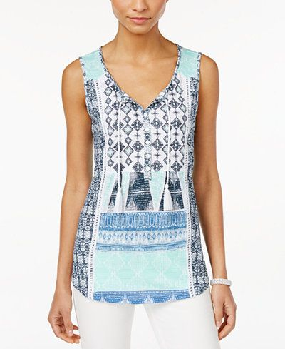 Style & Co. Embroidered Peasant Top, Only at Macy's