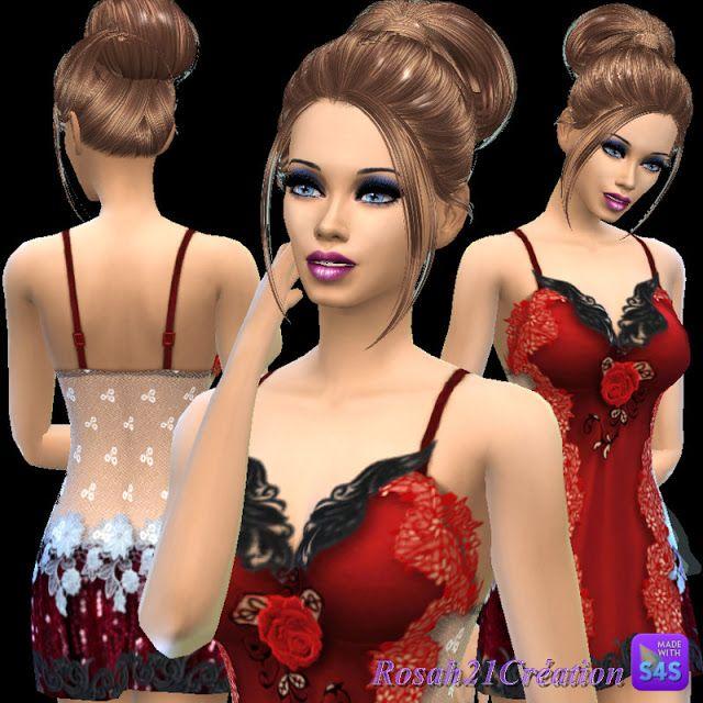 BABEL SIMS: TS4 Custom Content: Nuisette à la rose par Rosah21...