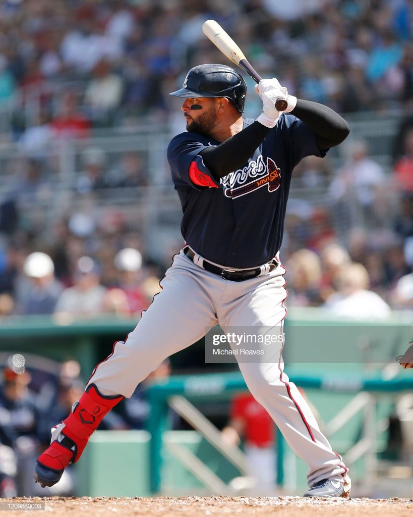 Yonder Alonso Of The Atlanta Braves In Action Against The Boston Red In 2020 Atlanta Braves Braves Atlanta Braves Baby