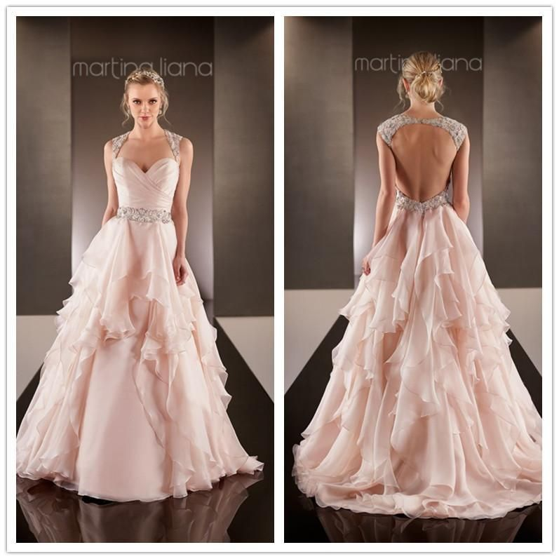 2016 Fancy New Designer Blush Wedding Dresses Sweetheart Cap