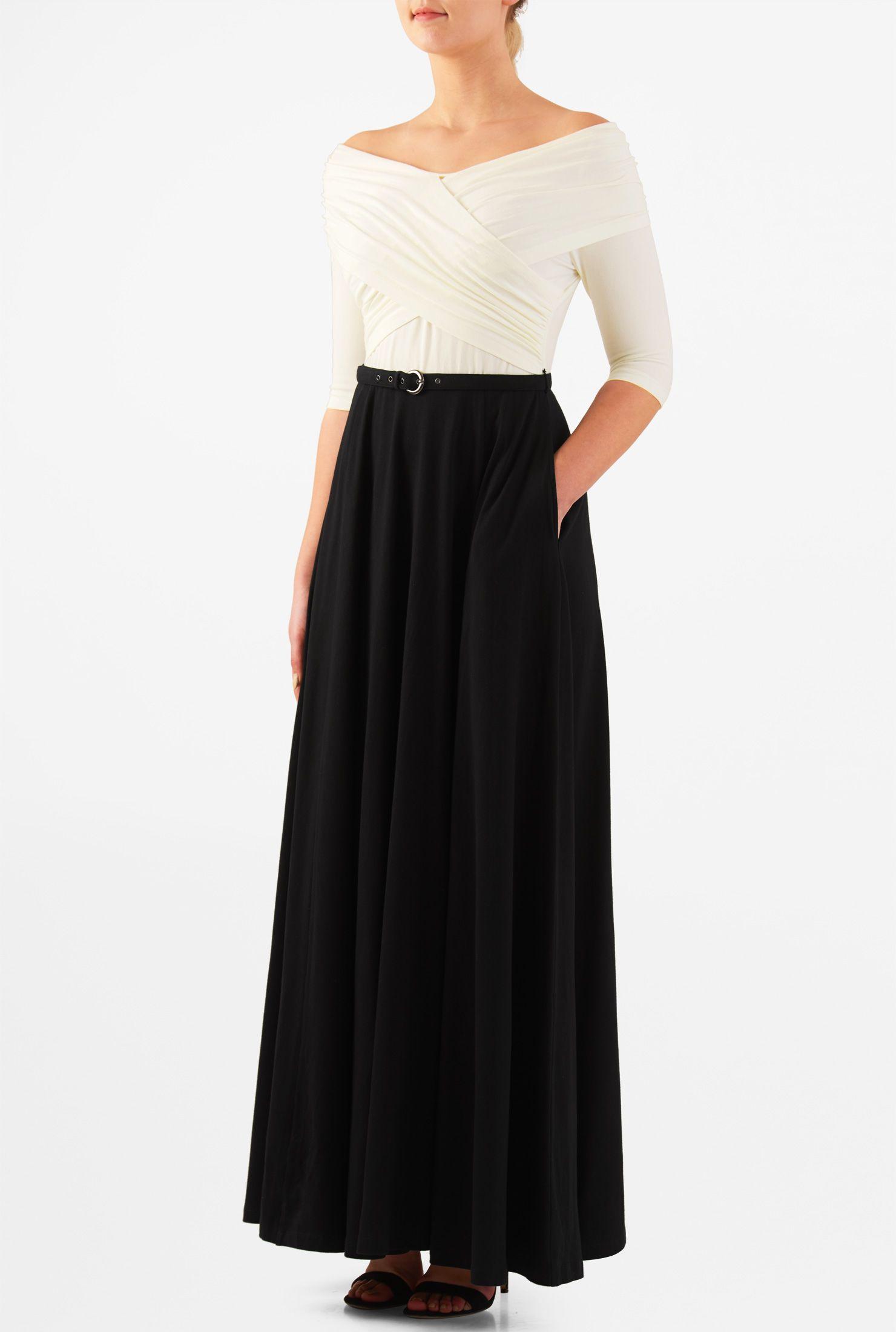 Black And White Dresses Boat Neck Maxi Dresses Cotton Spandex