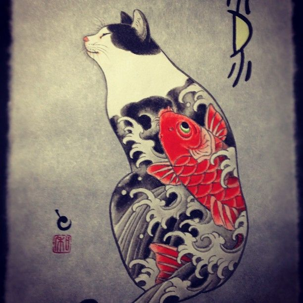 Painting of a tattooed cat by horitomo