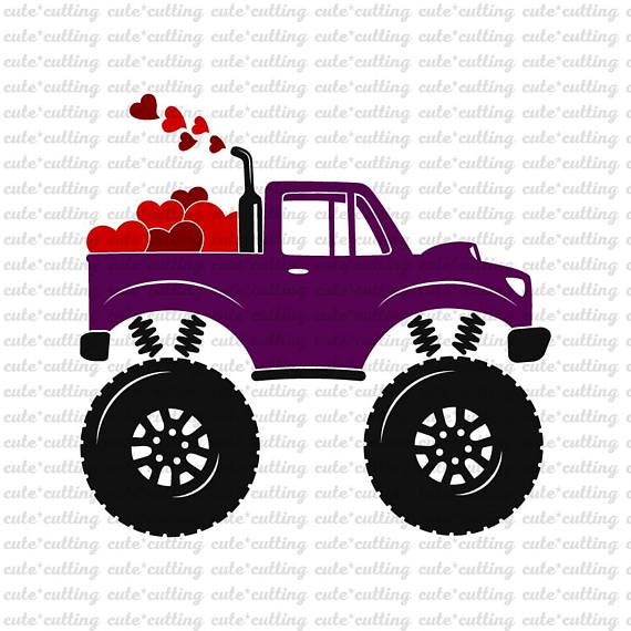 Valentines Truck Svg Monster Truck Svg Truck With Heart Svg