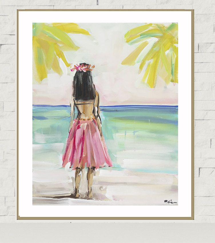 Hula Girl PRINT, print of original painting, devinepaintings ...