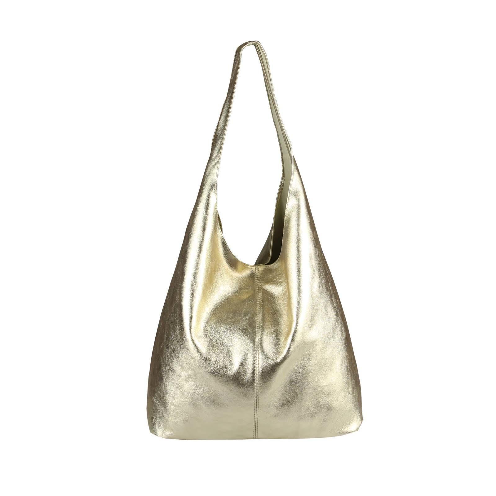 ba645c2dad74a OBC MADE IN ITALY DAMEN LEDER HAND-TASCHE METALLIC Shopper Schultertasche  Hobo-Bag Henkeltasche Beuteltasche Gold