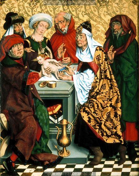 """1466 German: """"Circumcision of Jesus"""" altarpiece by Friedrich Herlin.  Nietbrillen on high priest"""