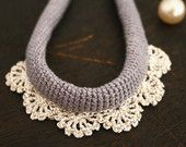 Christmas Sale 20% off-- gray crochet lace necklace, textile/fiber jewelry, christmas gift for her