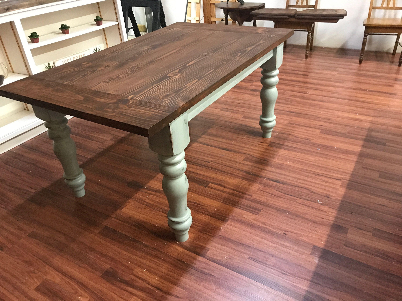 Turned Leg Farmhouse Table Farmhouse Table Dining Table