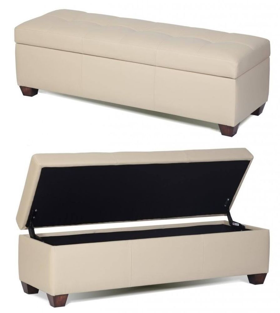 Queen Size Genuine Leather Storage Bench in Bone Color, Tufted Ottoman-Bed  Chest - World Of Miniature Bears - RABBIT - 5