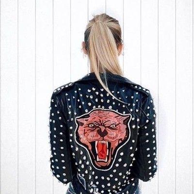 Zara Kurtka Skorzana Z Cwiekami Naszywki 36 S 6528367413 Oficjalne Archiwum Allegro Studded Leather Jacket Jackets Zara Leather Jacket