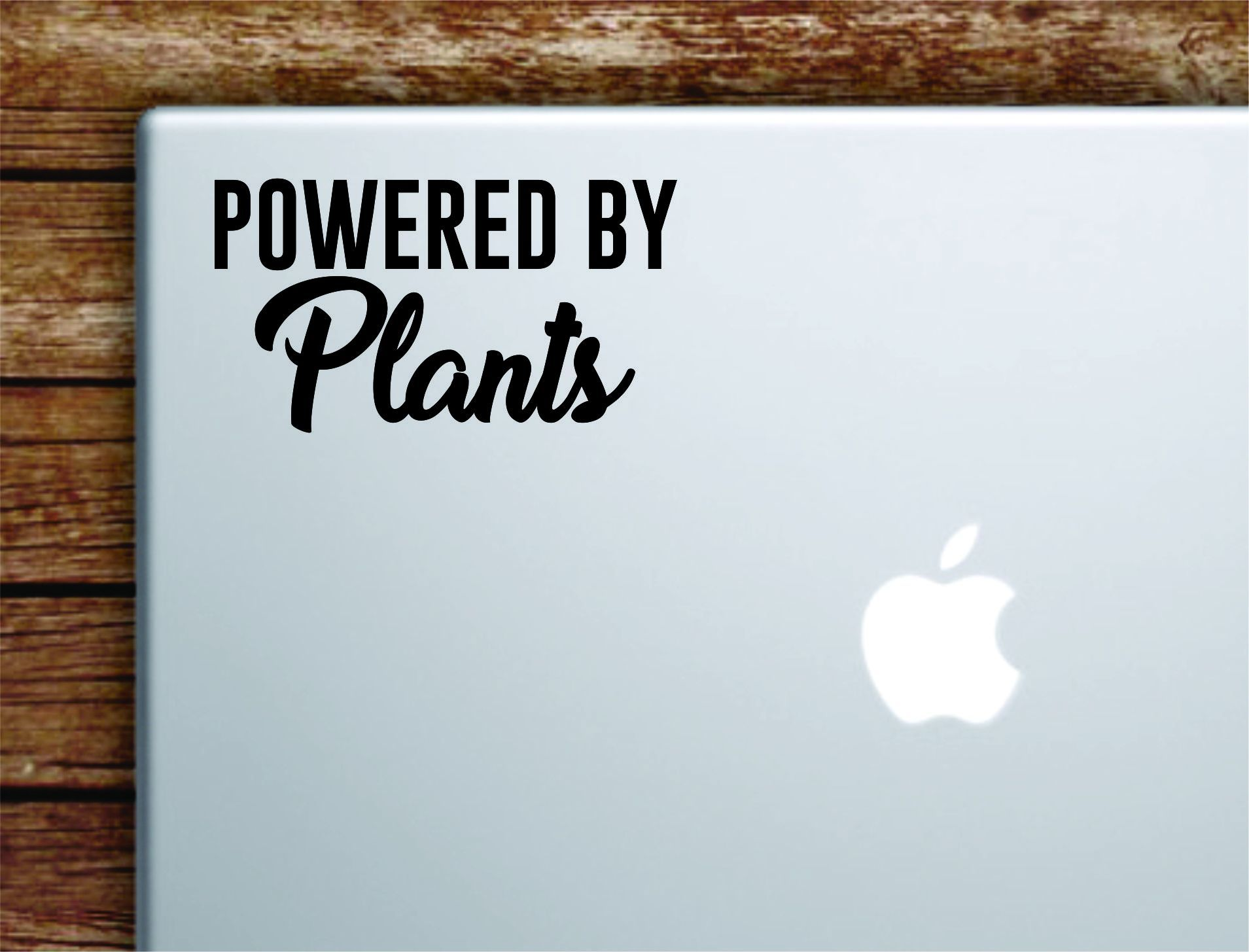 Powered By Plants Laptop Wall Decal Sticker Vinyl Art Quote Macbook Apple Decor Car Window Truck Teen Inspirational Girls Vegan Healthy - vivid blue