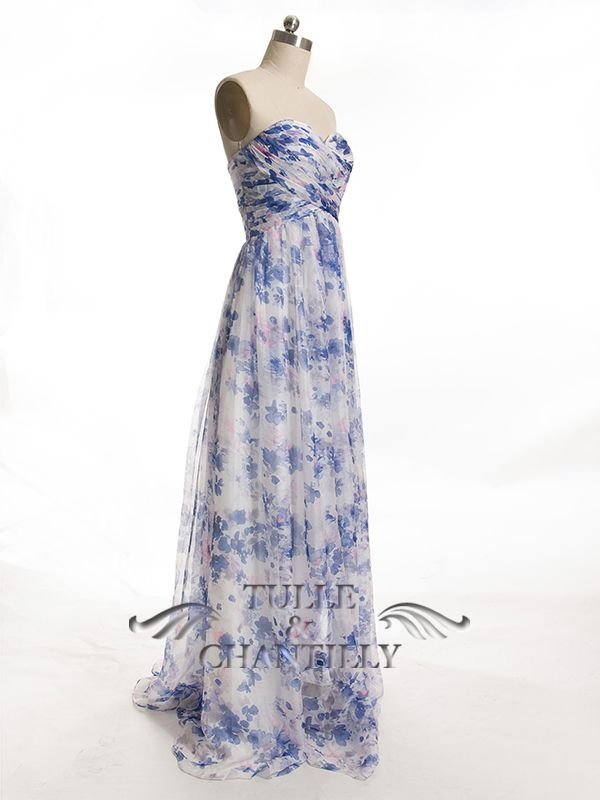 3e205ace195 Full Length Sweetheart Floral Printed Blue Bridesmaid Dresses with Removable  Strap 1