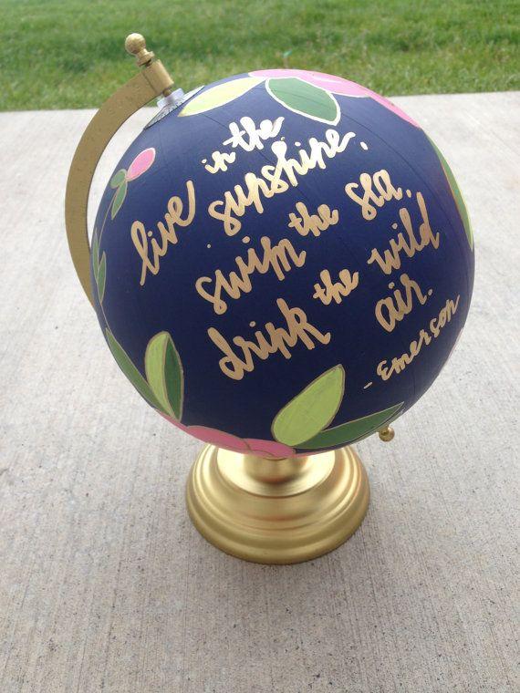 hand painted globe floral globe vintage globe by dovielou. Black Bedroom Furniture Sets. Home Design Ideas
