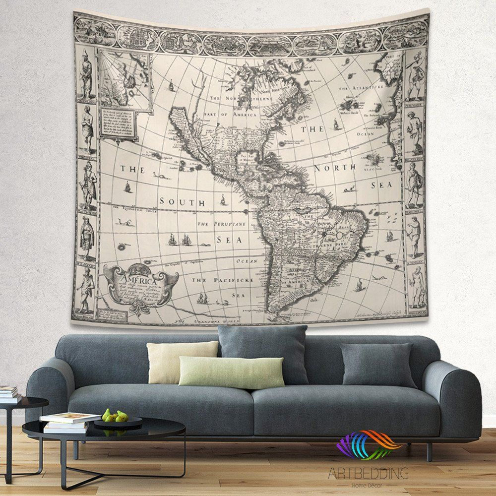 Vintage america map wall tapestry america vintage world map wall vintage america map wall tapestry america vintage world map wall hanging old map wall gumiabroncs Images