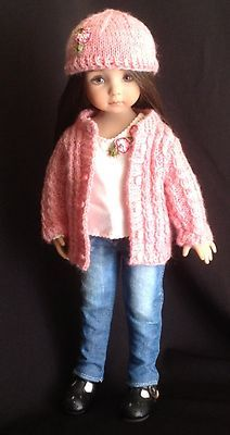 """Cable Cardigan Denim Jeans Outfit for Dianna Effner's 13"""" Little Darling Dolls 
