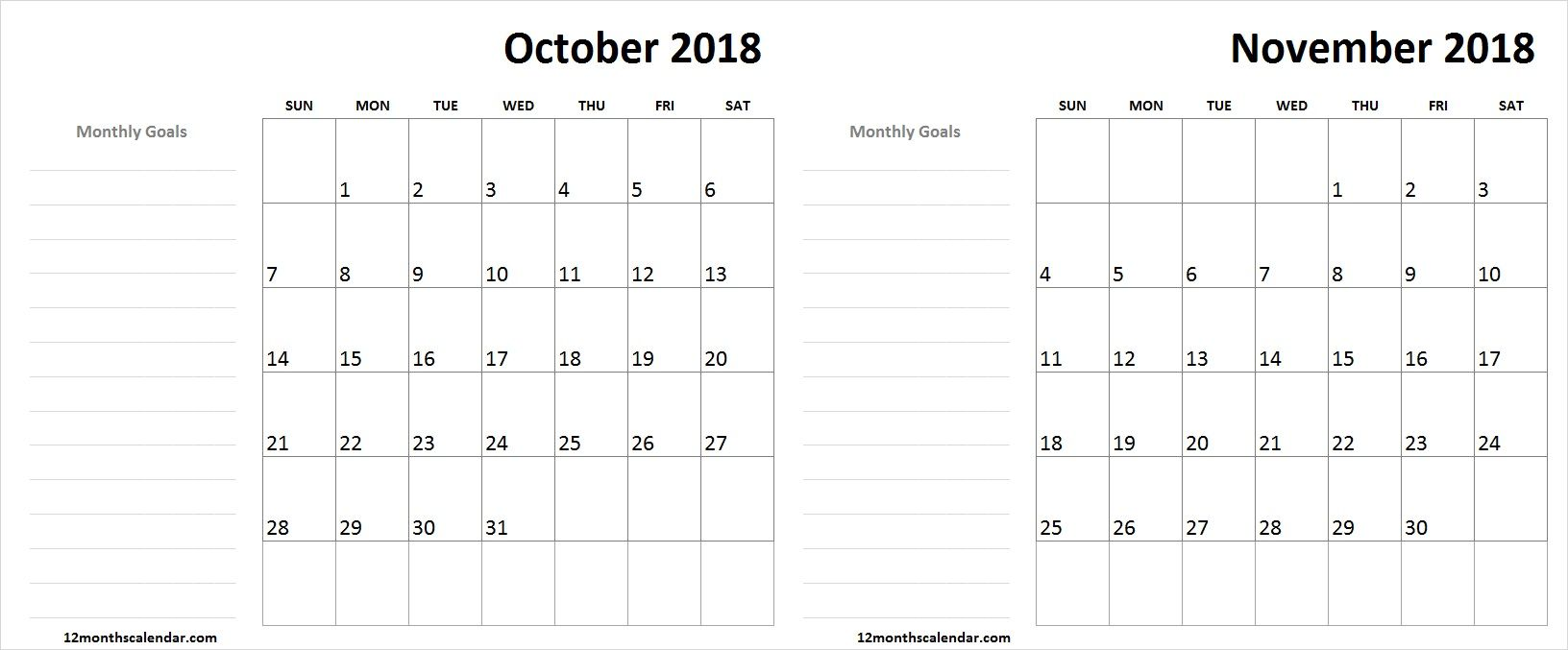 October November 2018 Calendar Monthly Goals 2019 Calendar