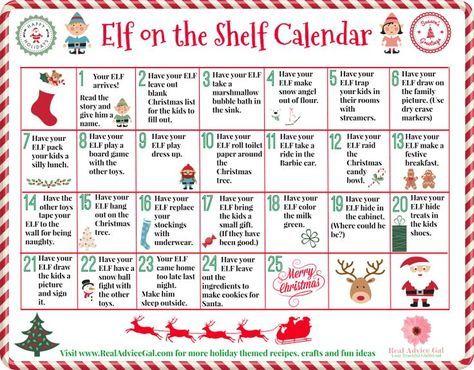 Funny Elf on the Shelf Calendar of ideas - Real Advice Gal