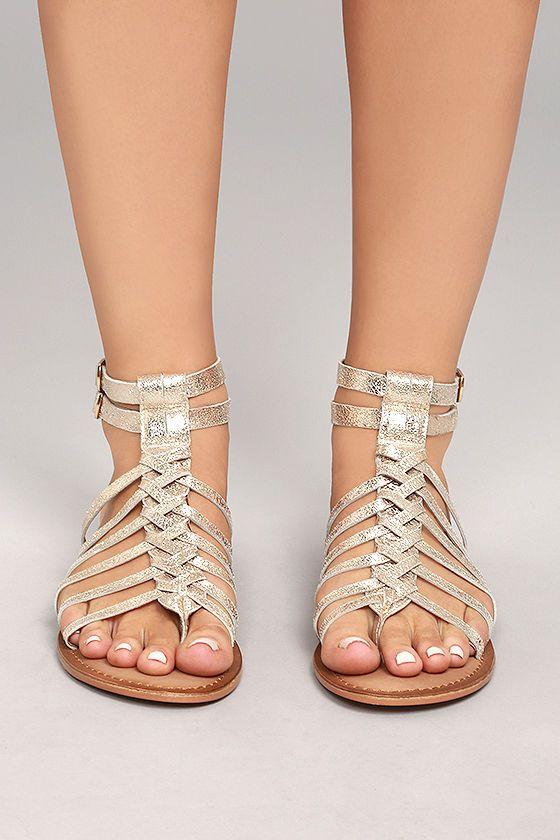 5bc474da55a Naughty Monkey Boardwalk Gold Leather Gladiator Sandals