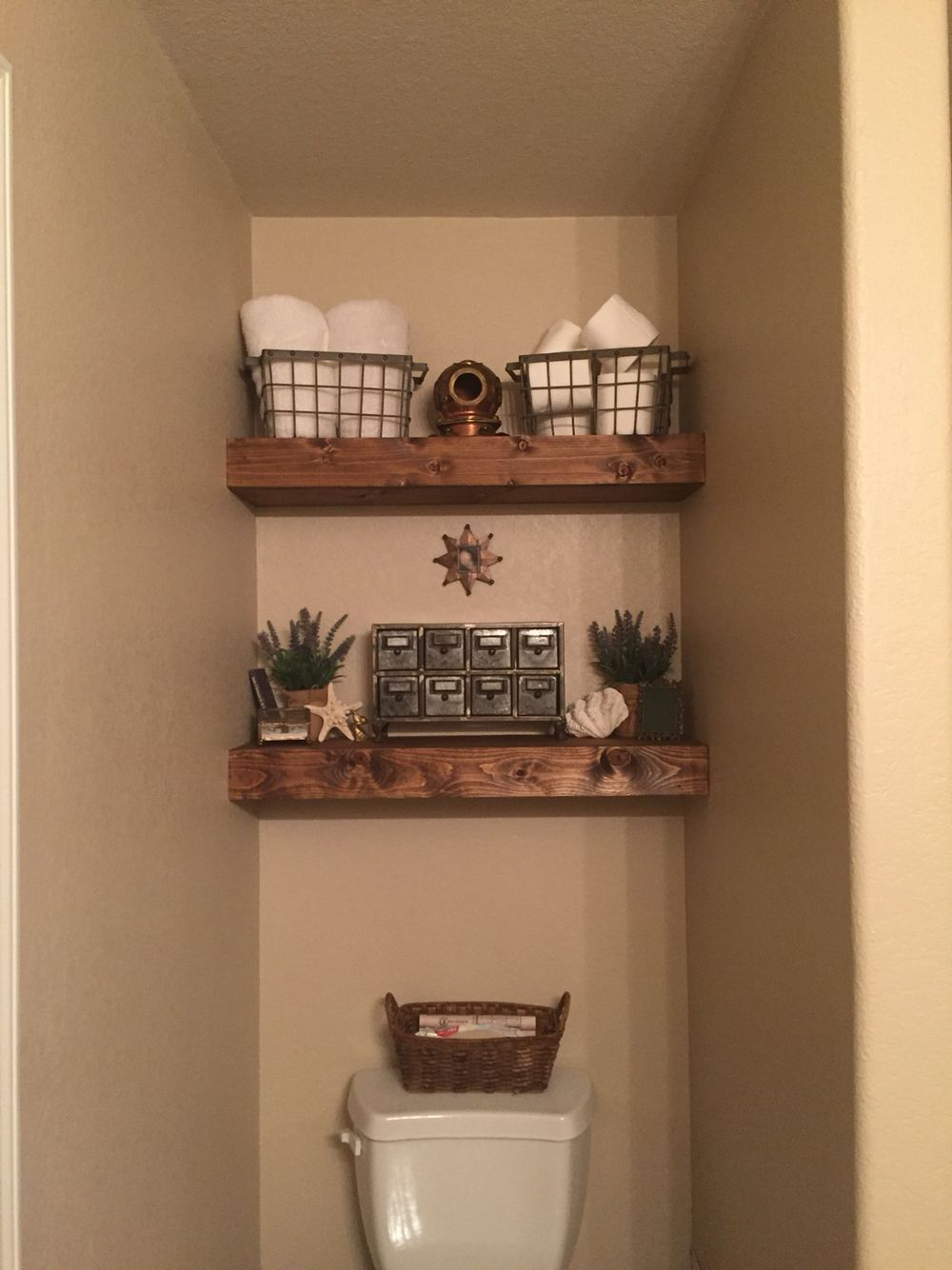 Floating Shelves Above The Toilet Rustic Vintage With A Side Of Sea Bathroom Organisation Shelves Above Toilet Bathroom Shelf Decor