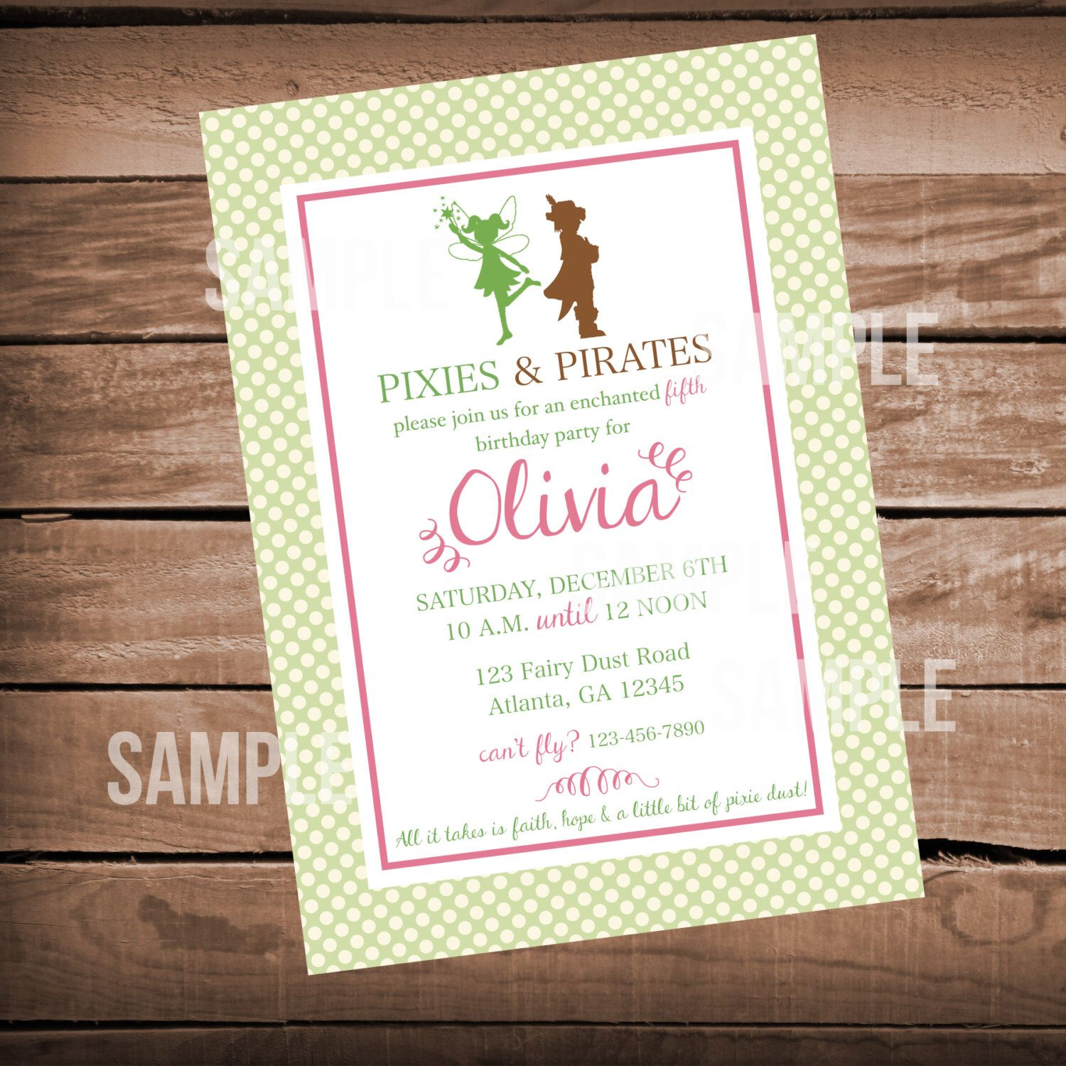 Pixie and Pirates Birthday Invitation - Tinkerbell | Tinkerbell ...
