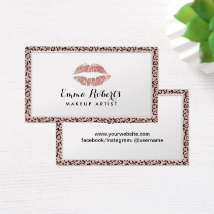Makeup artist rose gold lips leopard border business card artists makeup artist rose gold lips leopard border business card artists unique special customize presents colourmoves Image collections