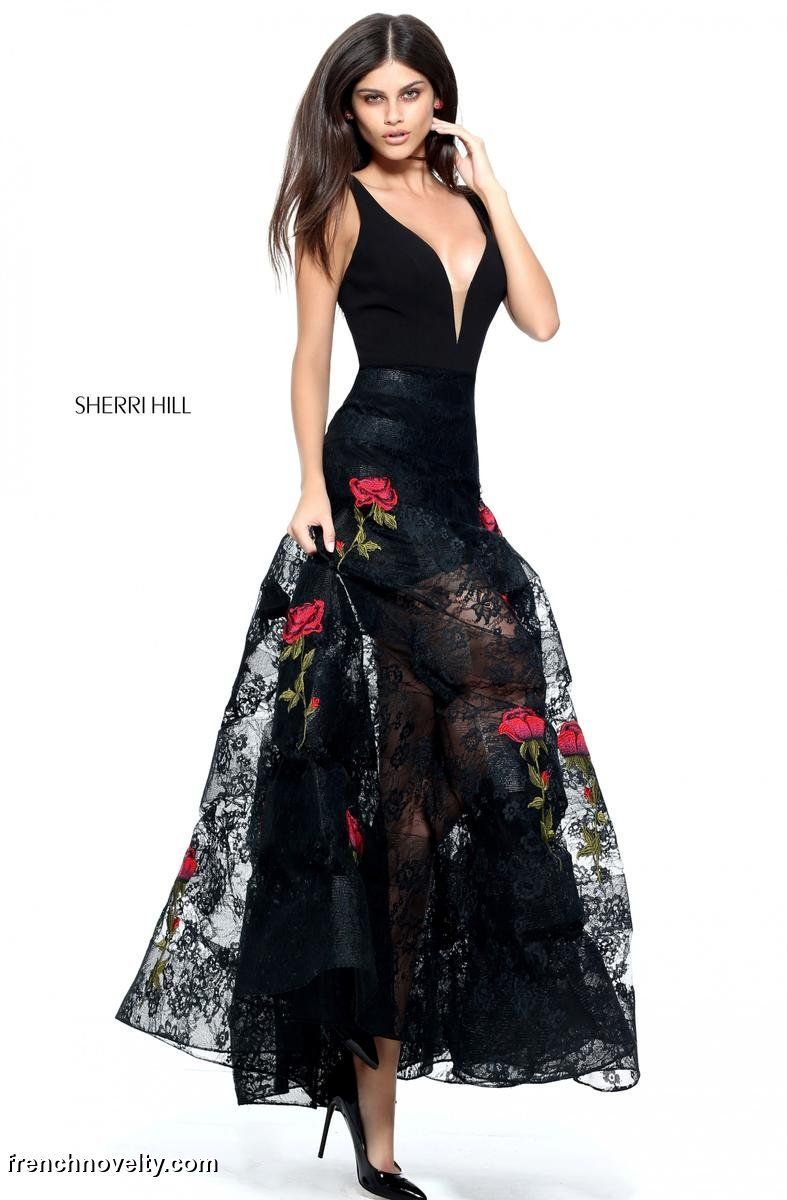 V neck black lace dress  Sherri Hill  Sheer Lace Gown with Floral Appliques  Prom