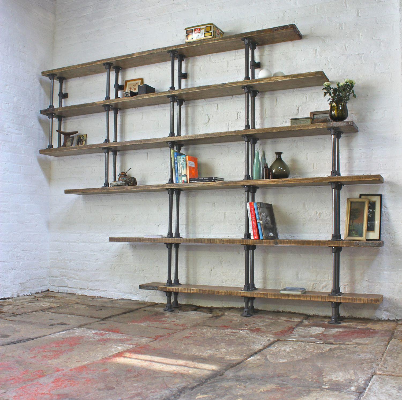 Emilie Asymmetric Reclaimed Scaffolding Boards And Dark Steel Pipe Shelves Bookcase Bespoke Urban Shelving System By Www Urbangrain Co Uk