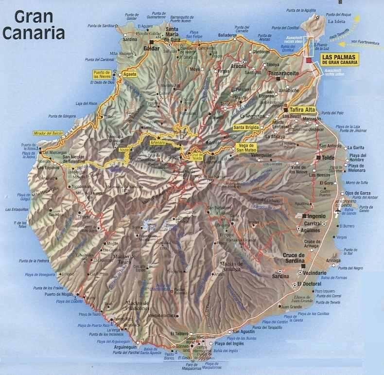 ESPAGNE Iles Canaries Canarias Gran Canaria mapa relieve