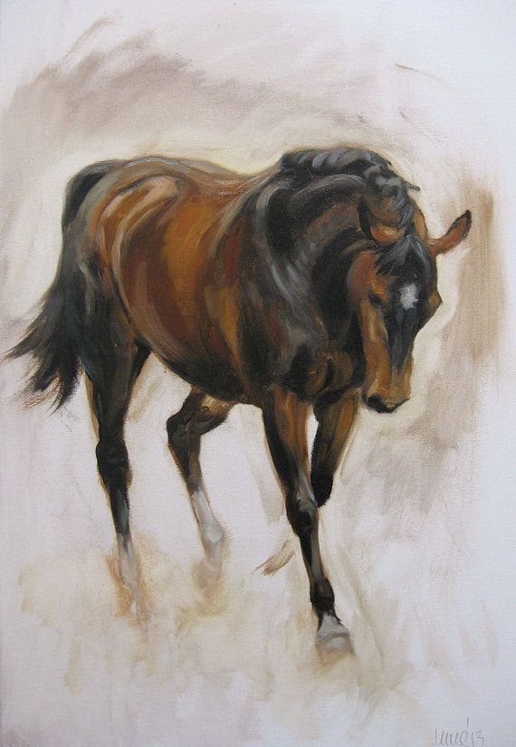 Original oils on canvas painting horse equine dressage movement and energy sketch by H Irvine on Etsy, $200.00