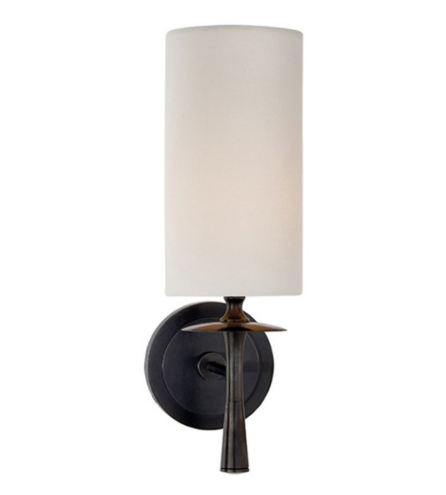 visual comfort sconces. Visual Comfort ARN 2018BZ-L AERIN Modern Drunmore Single Sconce In Bronze With Linen Shade Sconces