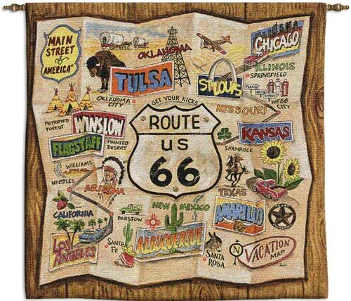 Take A Road Trip Down Old Route This Square Throw Has A Retro Map Effect And Depicts Towns Along The Way