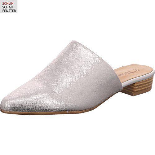 Tamaris Damen Sabot Silber Metallic Schuhgross Tamaris Schuhe Sommerschuhe Damen