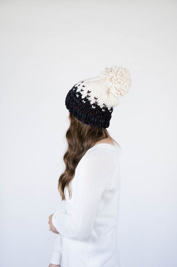 Fair Isle Ombré Knit Slouchy Hat With Pom Pom / THE MINTURN ...