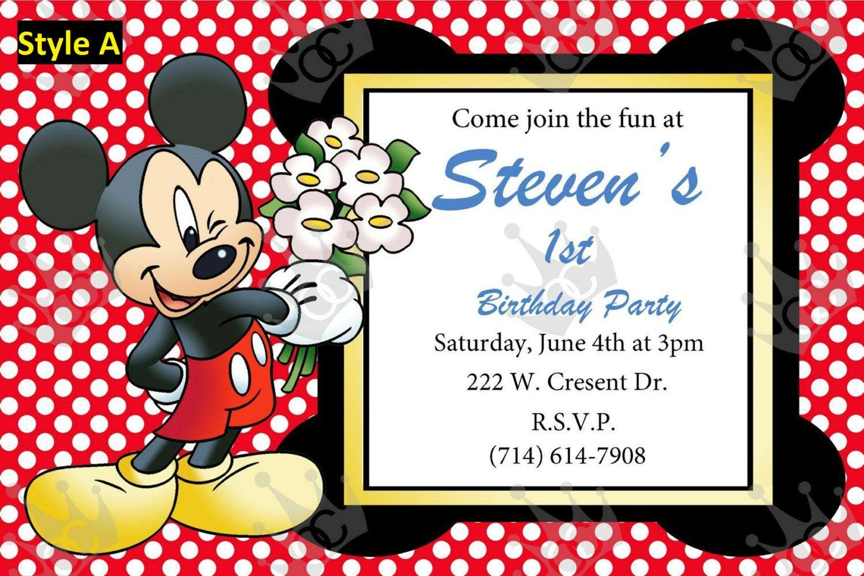 Mickey Mouse Invite TemplateCustomization To Meet Your NeedsBday
