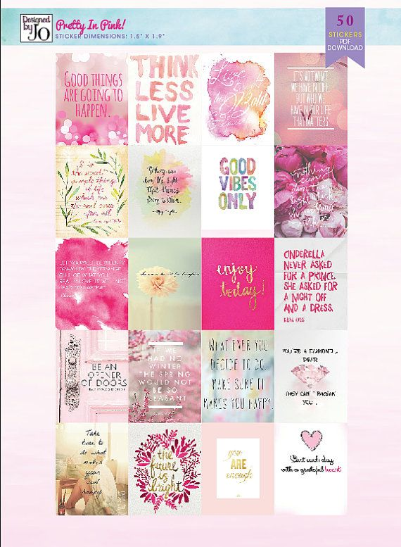 50 Inspiring Stickers Pretty In Pink by OrganisedThings on Etsy