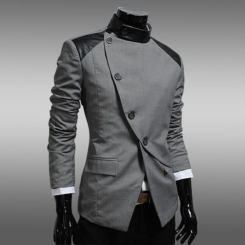 New Arrival Patchwork Top Mandarin Collar Slim Fit Men Male Suit ...