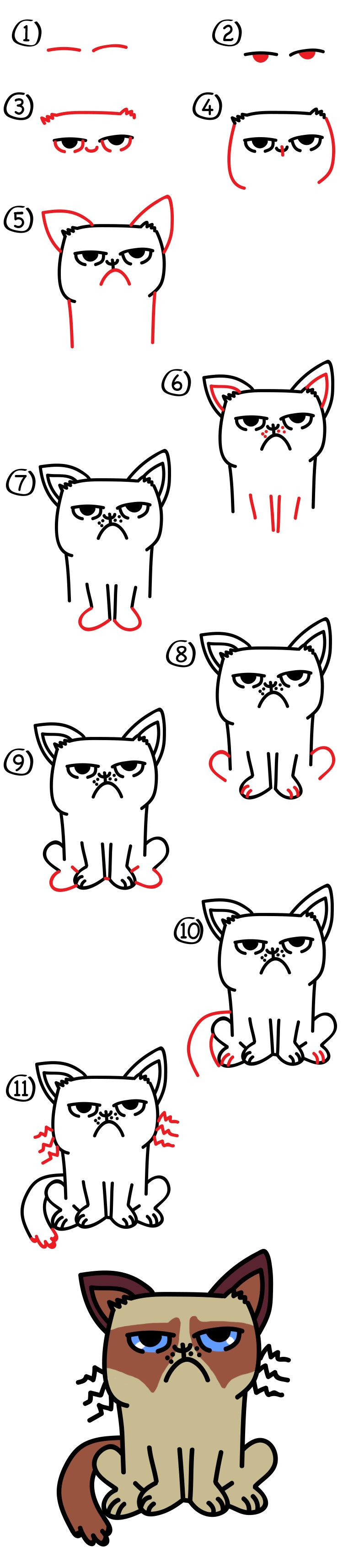 How to draw grumpy cat art for kids hub grumpy cat