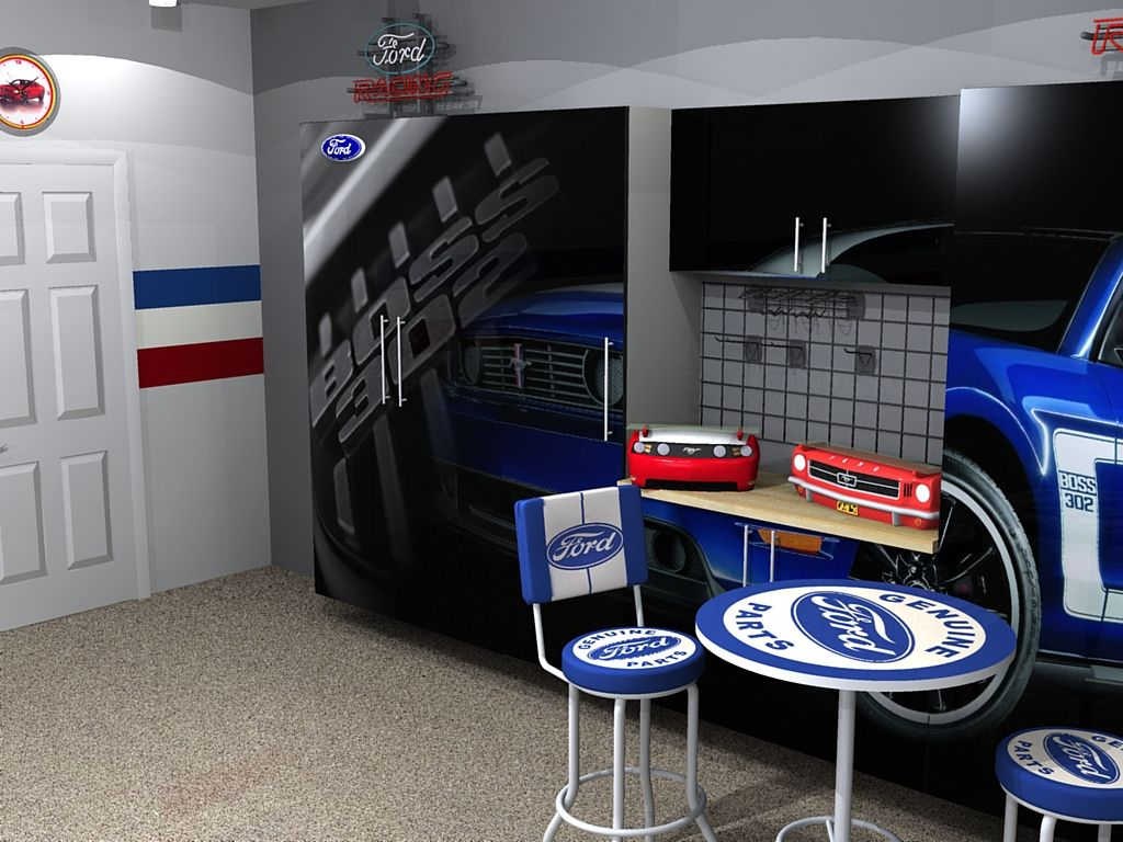 boss 302 custom garage cabinet with ford table and chair set boss 302 custom garage cabinet with ford table and chair set