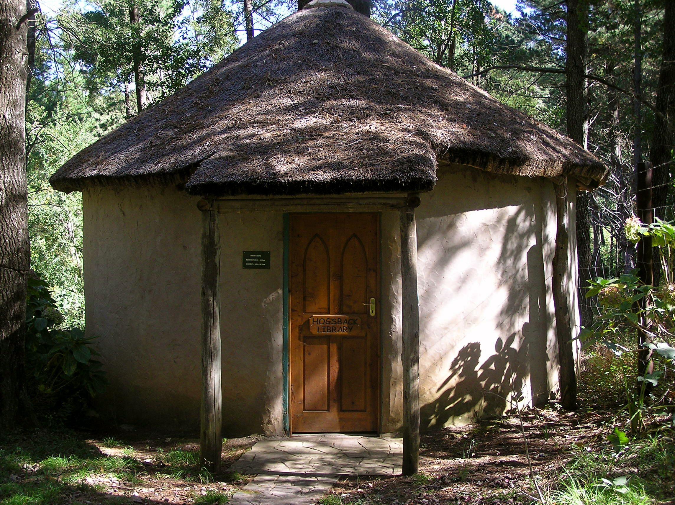 Hogsback Library, South Africa. This is a tiny, thatched