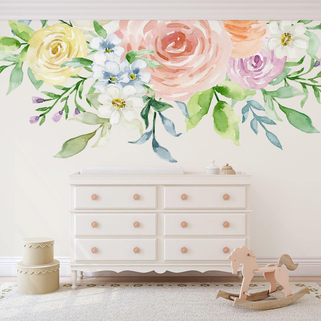 Sophia Pastel Watercolors Flowers Blooms Wall Mural Decal In 2019