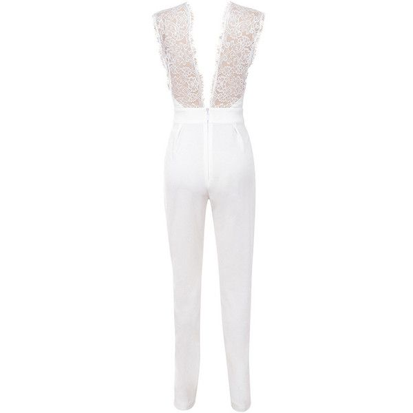 'Fox' White Lace Deep V Jumpsuit ❤ liked on Polyvore featuring jumpsuits, jumpsuits & rompers, sexy white jumpsuit, tailored jumpsuit, lace jumpsuit and white jumpsuit