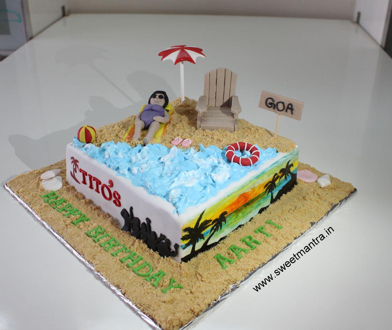 Homemade Eggless 3dcustom Goabeach Theme Birthday Cake For Wife At