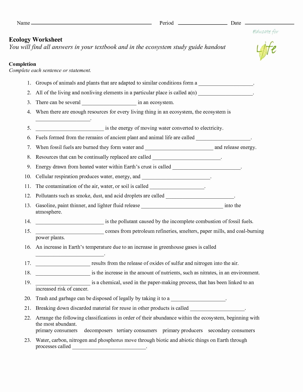 50 Ecological Succession Worksheet High School In