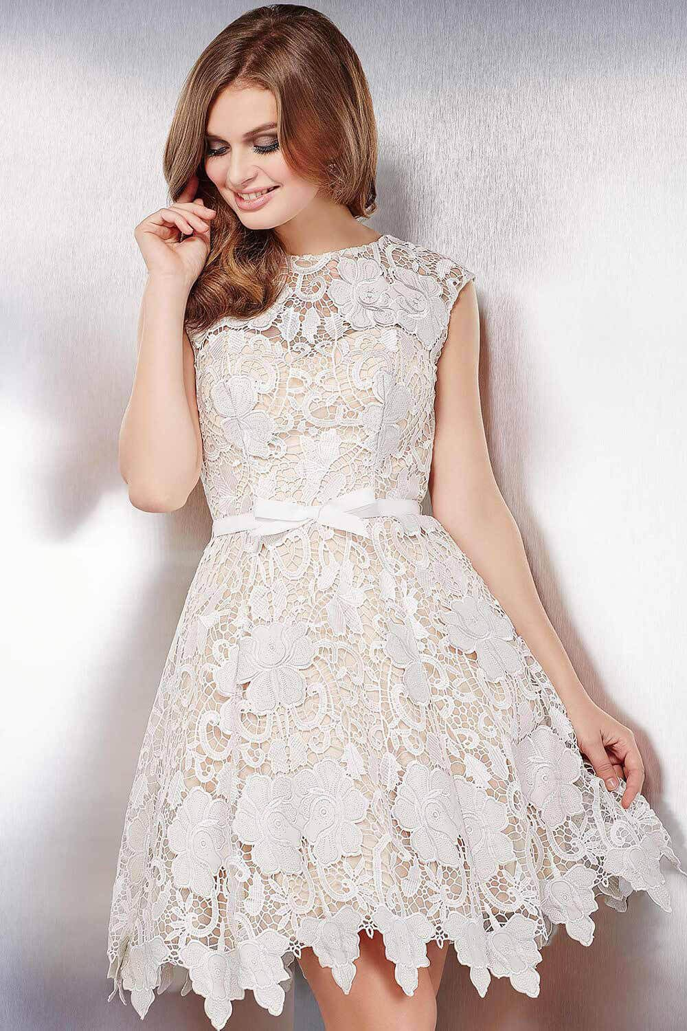 We are loving this #jovani 32541 lace fit and flare dress with an ...