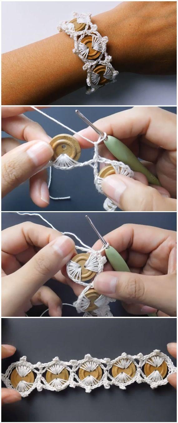 Photo of Häkeln Sie einfach schöne Knöpfe Armband