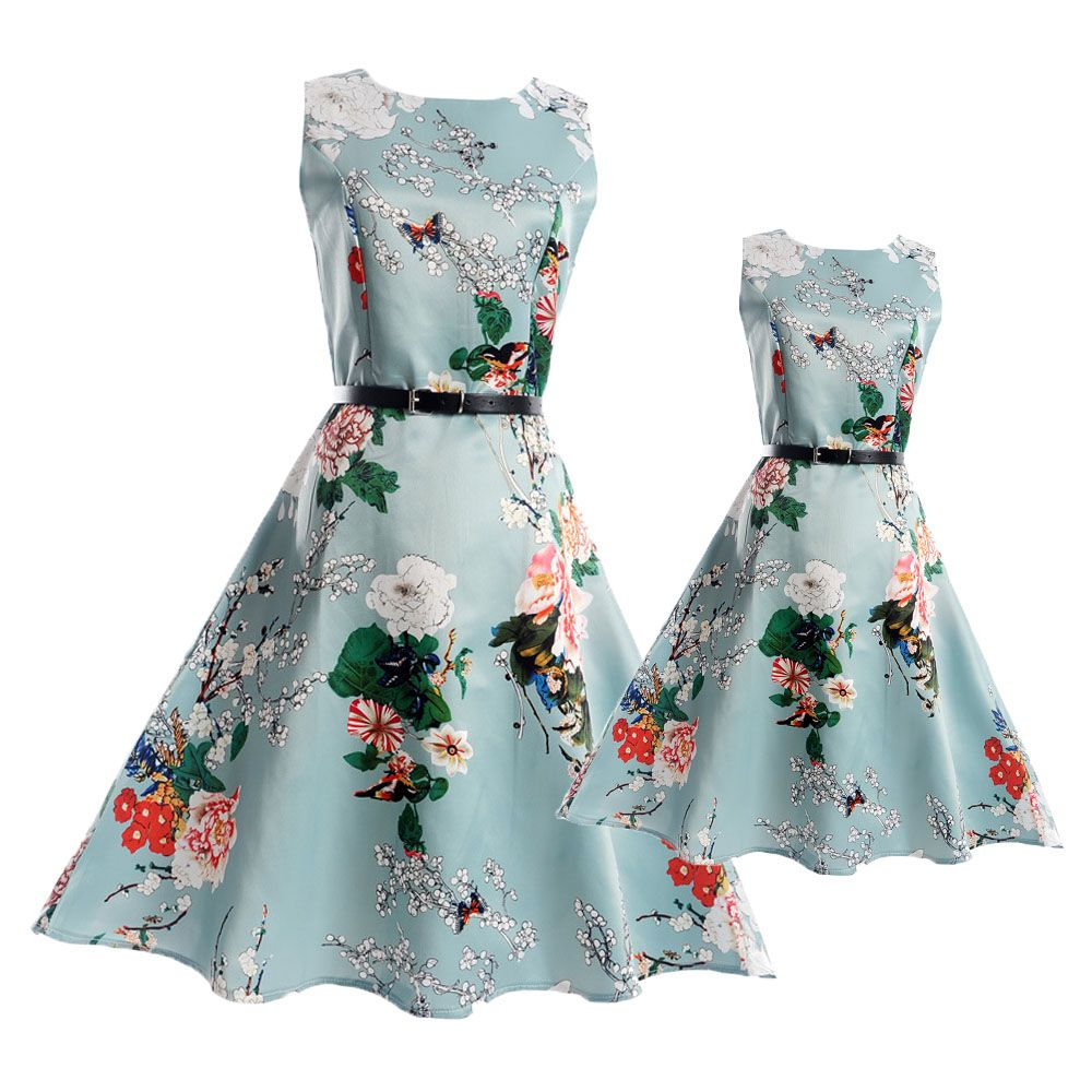 2017 Fashion Summer Vintage Mother and Daughter Dresses Teenage ...